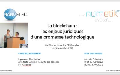 CONFERENCE «La blockchain : les enjeux juridiques d'une promesse technologique»